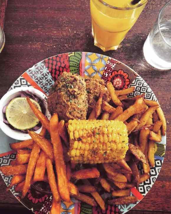 poulet frit et patates douces
